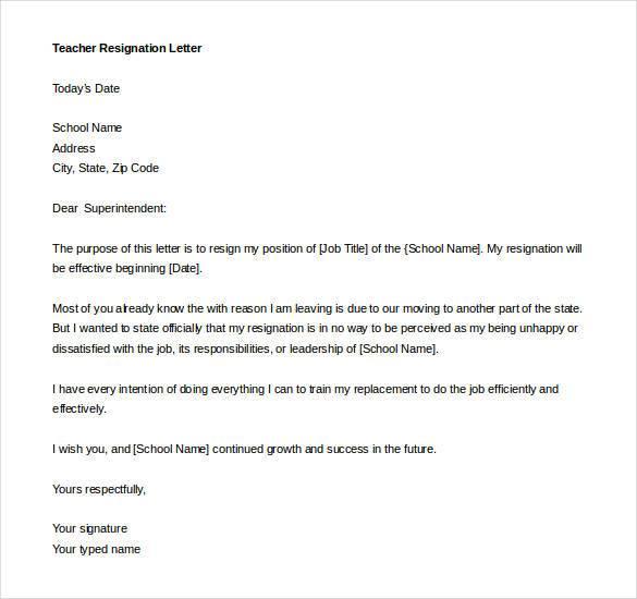 Teacher Resignation Letter Template 17 Free Sample Example – Sample Resignation Letter in Word Format