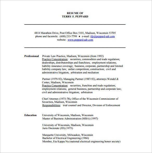 coorporate lawer resume free pdf downlaod - Legal Resume Format