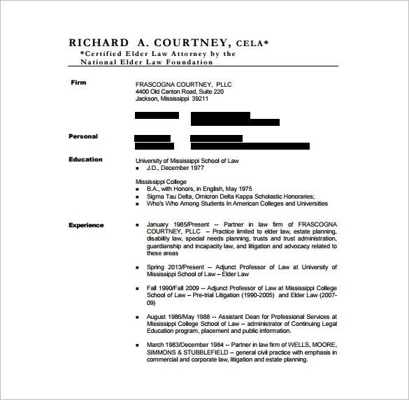 free proffesional lawyer resume pdf template
