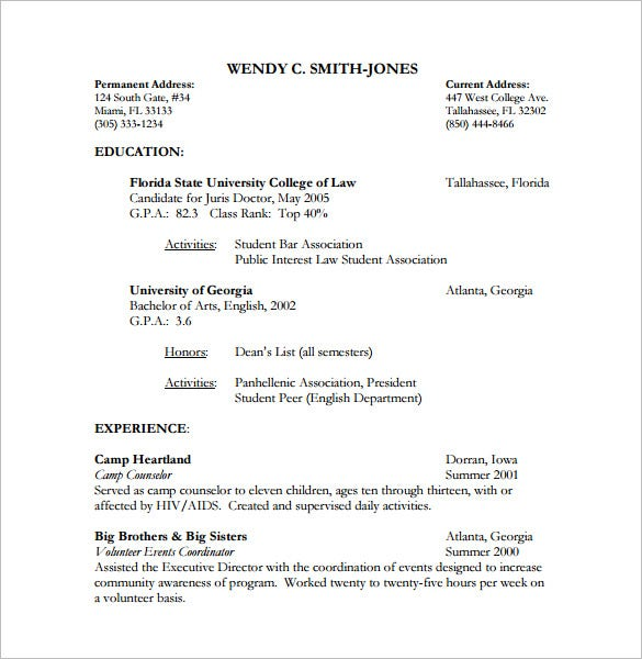 lawyer sample resume