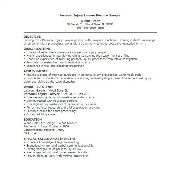 personal injury lawyer resume template - Legal Resume Format