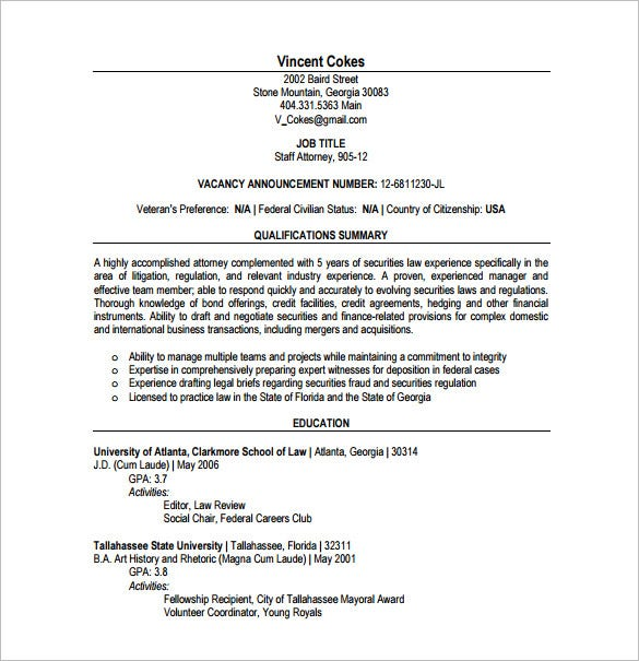 Junior Lawyer Resume PDF Free Download
