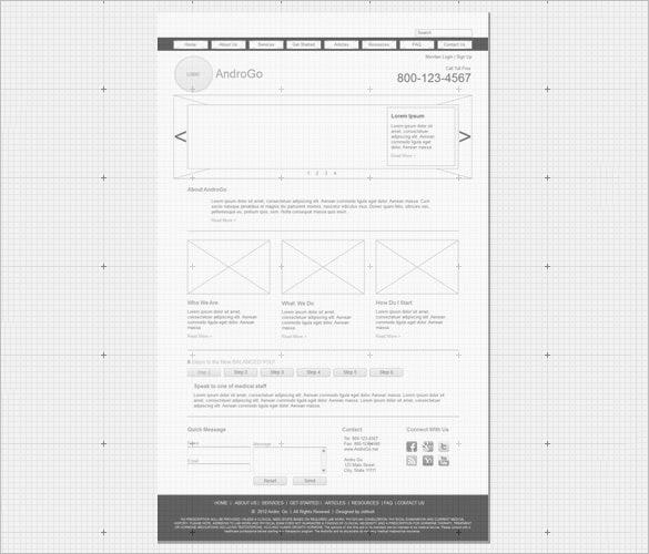 androgo website wireframe example