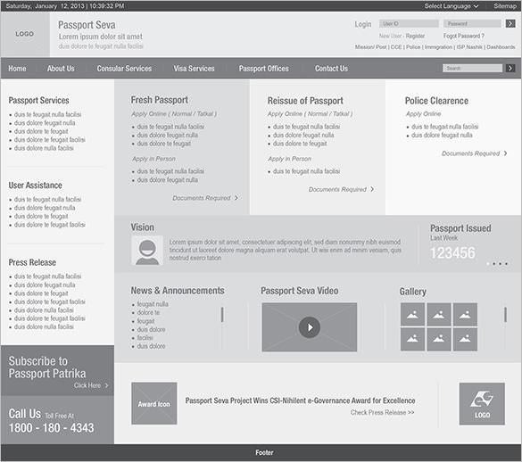 wireframe of passport india website