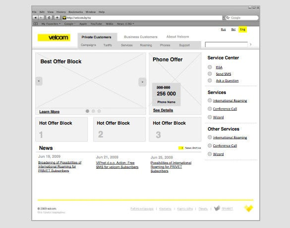velcom by redesigned wireframe website