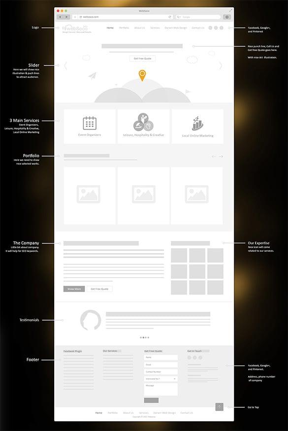 websoco website wireframe example