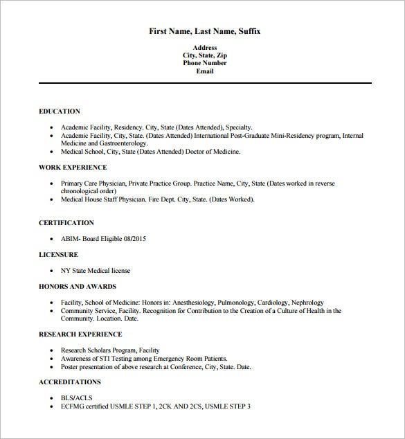 md physician doctor resume free pdf download - Doctor Resume Template