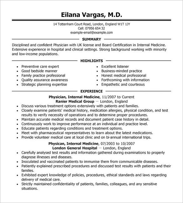physician resume template