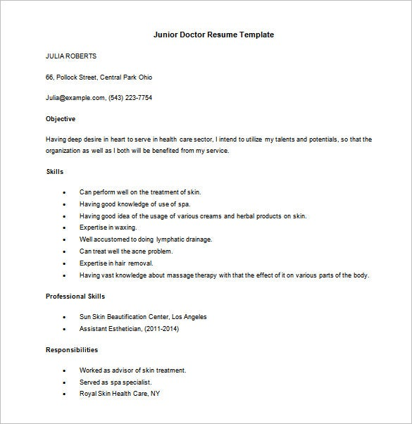 Doctor Resume Example Fresher Doctor Resume  Free Word Pdf