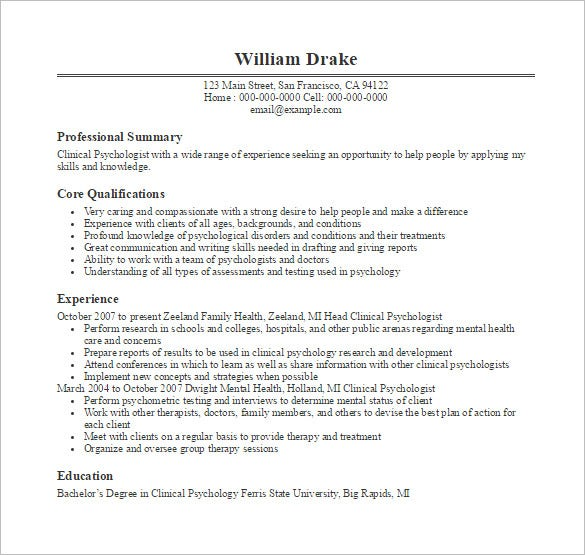 psychologist doctor resume free pdf template