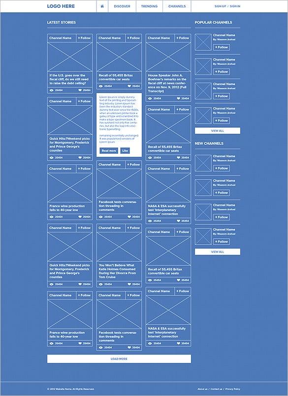 trendlinks social network wireframe example