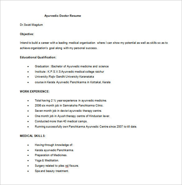 ayurvedic doctor resume free word download - Resume Templates For Doctors