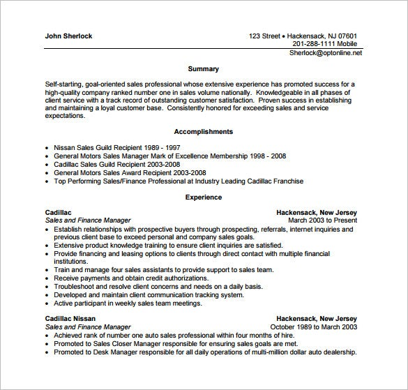 Sales Manager Resume PDF Free Download  Auto Finance Manager Resume