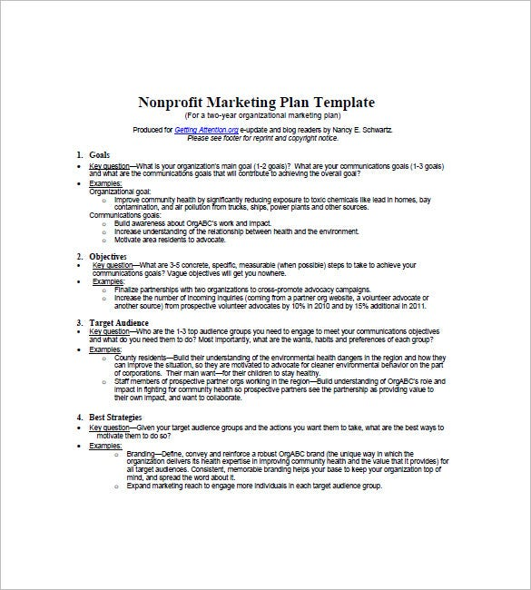 Non profit marketing plan template 10 free word excel for Nonprofit communications plan template