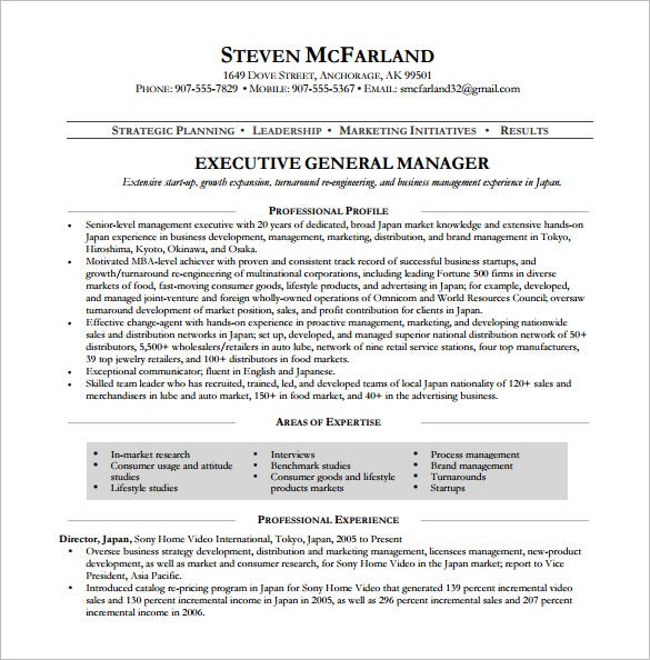 executive general manager resume free pdf template