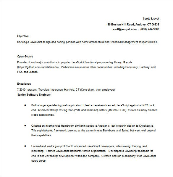 Free Advance Java Developer Resume in MS Word