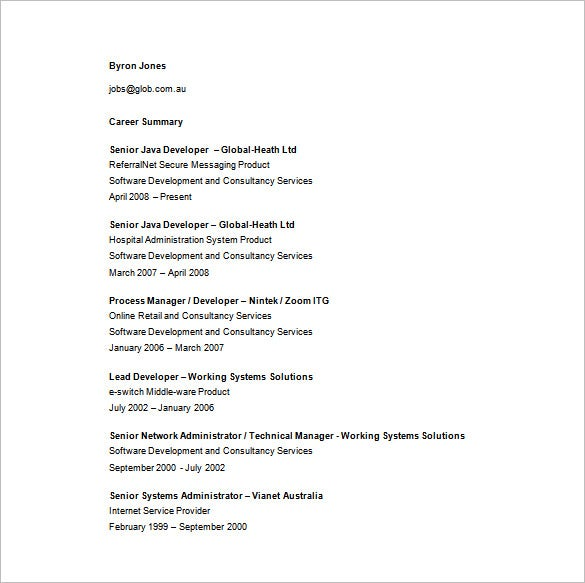 Senior Java Developer Resume Free Word Download