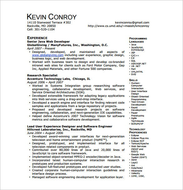 Java Developer Resume Template 11 Free Word Excel PDFPS – Web Developer Resume Samples