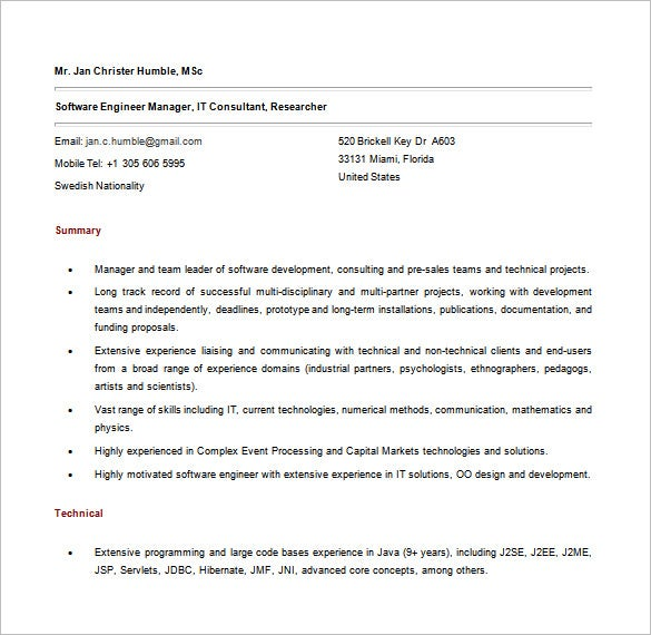 Free Java Software Developer Resume Word Download