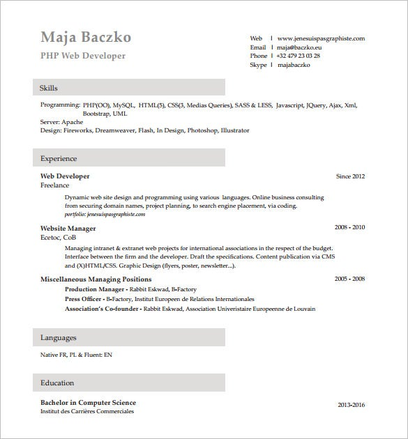 Php Developer Resume Template  7+ Free Word, Excel, Pdf Format