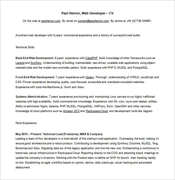 freelance php developer resume free word download