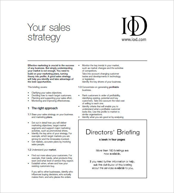 Sales and Marketing Plan Template 10 Free Word Excel PDF – Sales Strategy Template