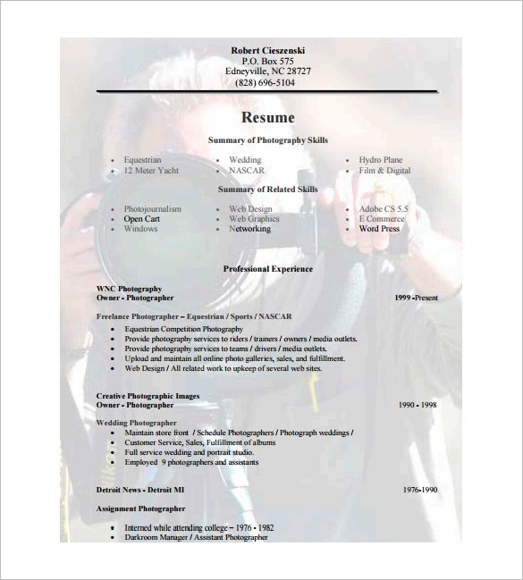 Photographer Resume Template   Free Word Excel Pdf Format