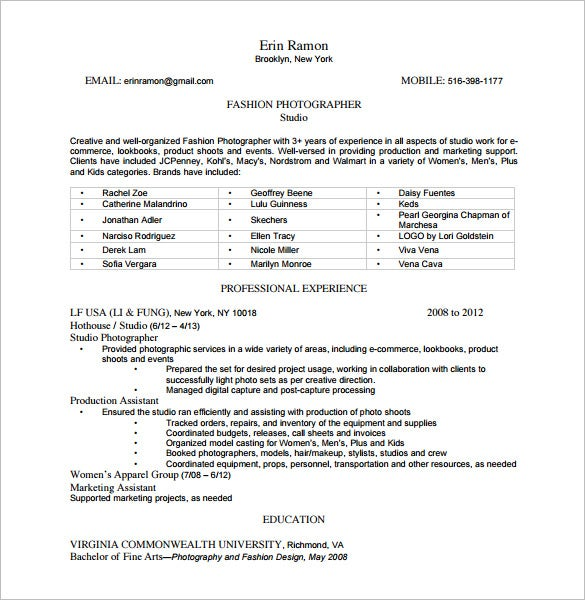 Photography Skills Resume Template