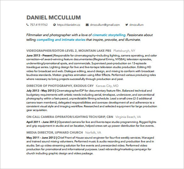creative photographer resume free pdf download