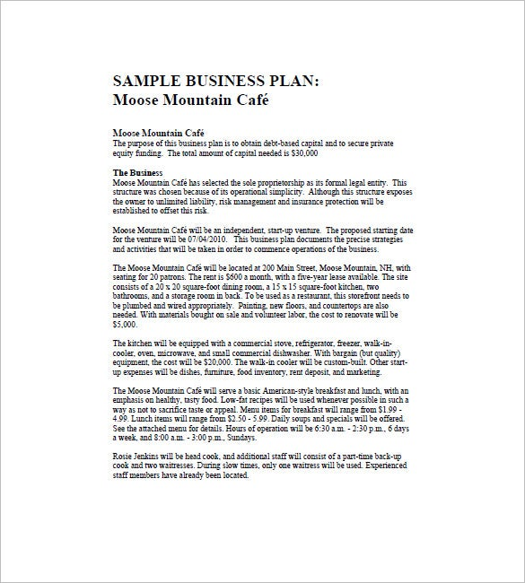 example of business plan outline