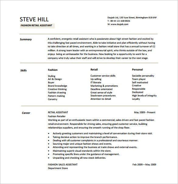 Fashion Retail Resume Free PDF Template  Retail Skills Resume