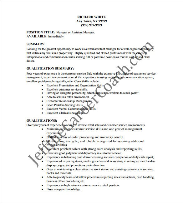 Superbe Retail Cashier Resume Free PDF Template
