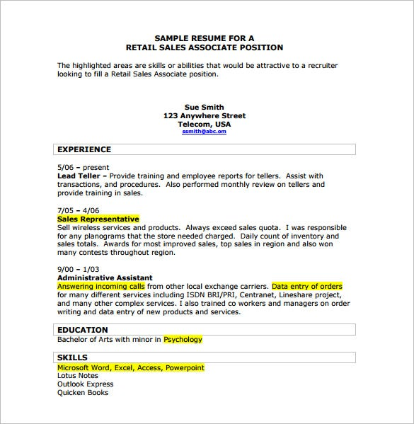 free retail sales associate resume pdf download - Sample Resume For Store Sales Associate