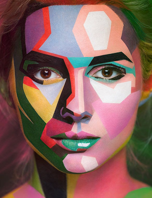 insane makeup turns models into 2d painting design