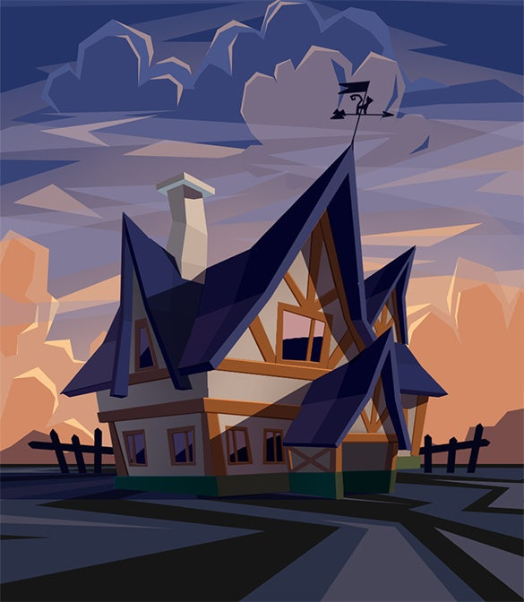 low poly house 2d art design
