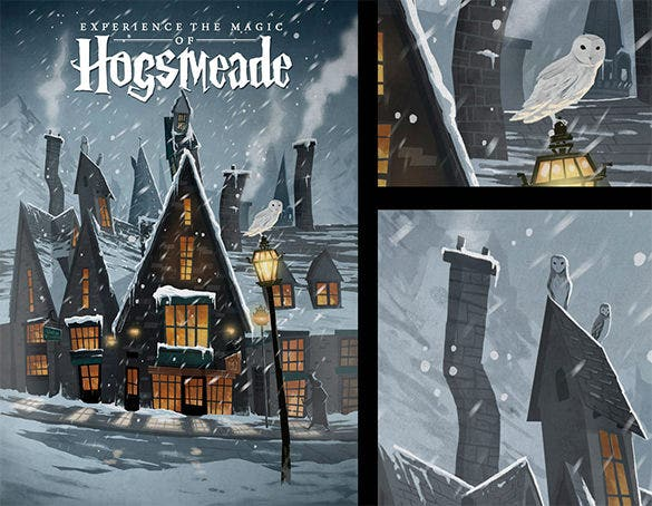 2d art hogsmeade travel poster