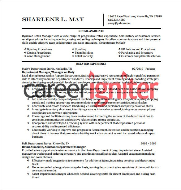 Retail Resume Template   Free Word Excel Pdf Format Download