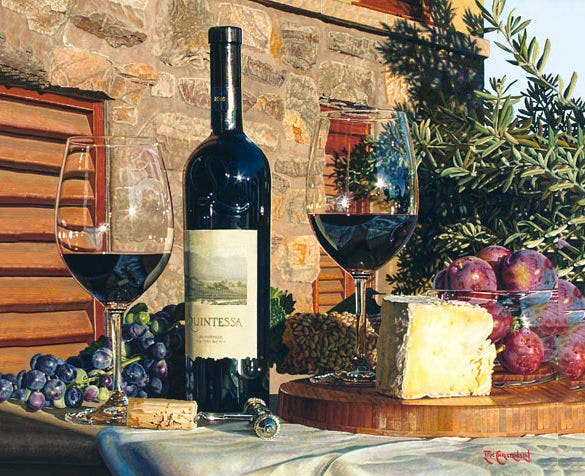 wine oil realistic painting