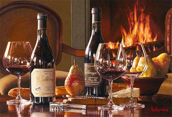 burning wine oil realistic painting