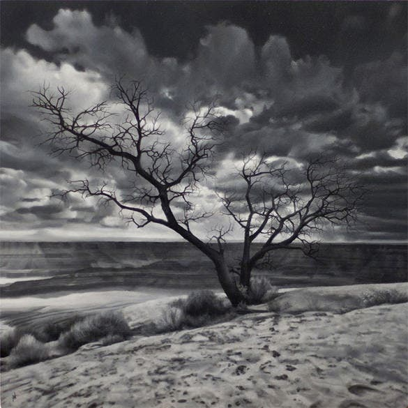 tree stunning hyperrealistic oil painting