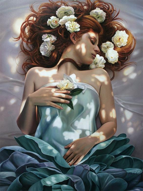 beautiful woman realistic painting