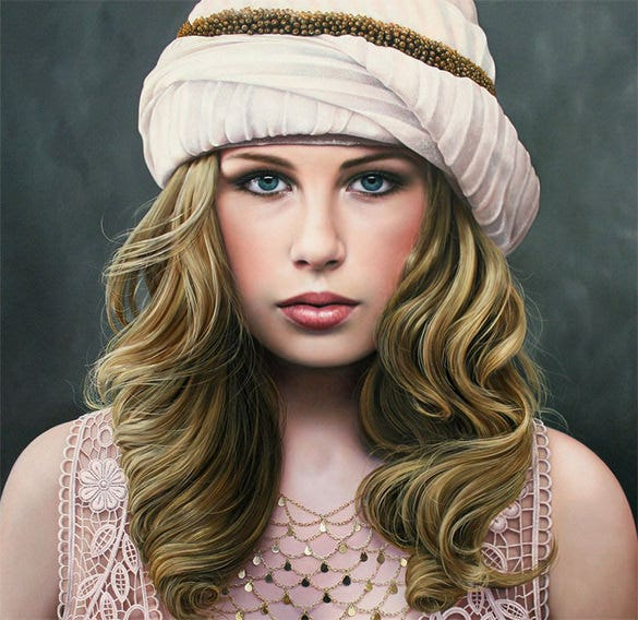 beautiful woman realistic painting download
