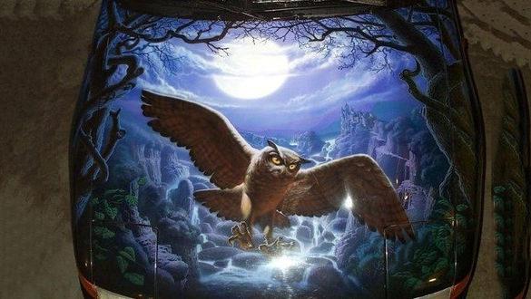 owl aerography design template