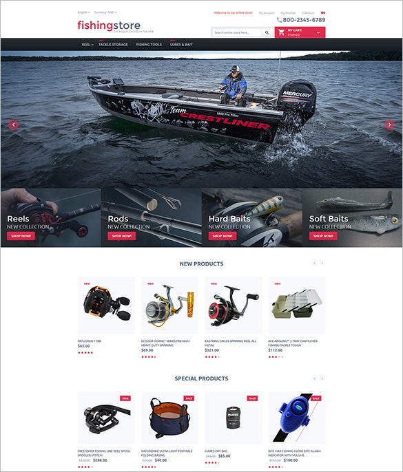 html5 template for fishing store