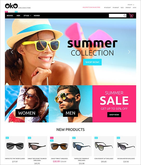 fashion glasses store html5 template