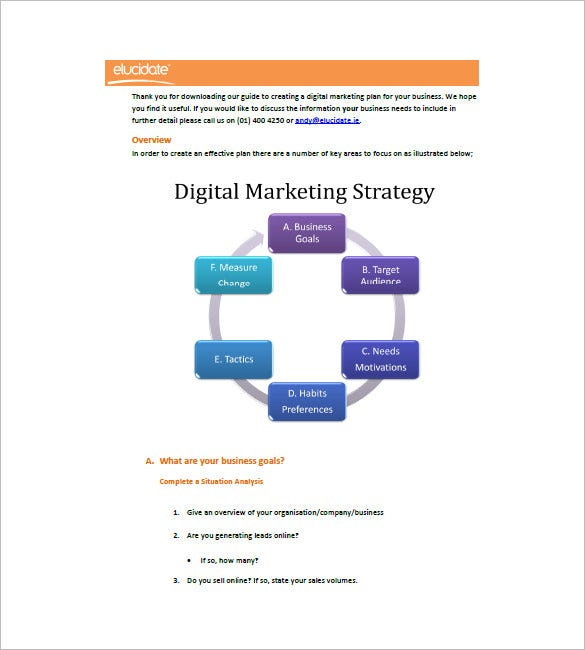 strategic marketing plan template free download - digital marketing plan template 16 free word excel