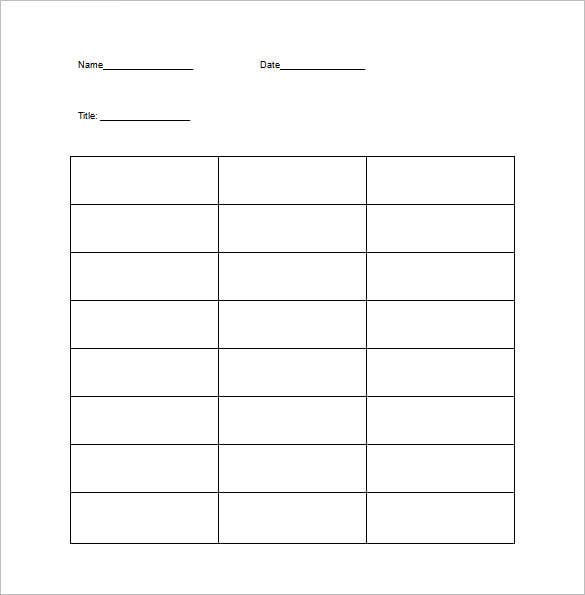 T Chart Template 13 Free Sample Example Format Download – Chart Template