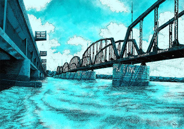 amazing bridge pointillism art example