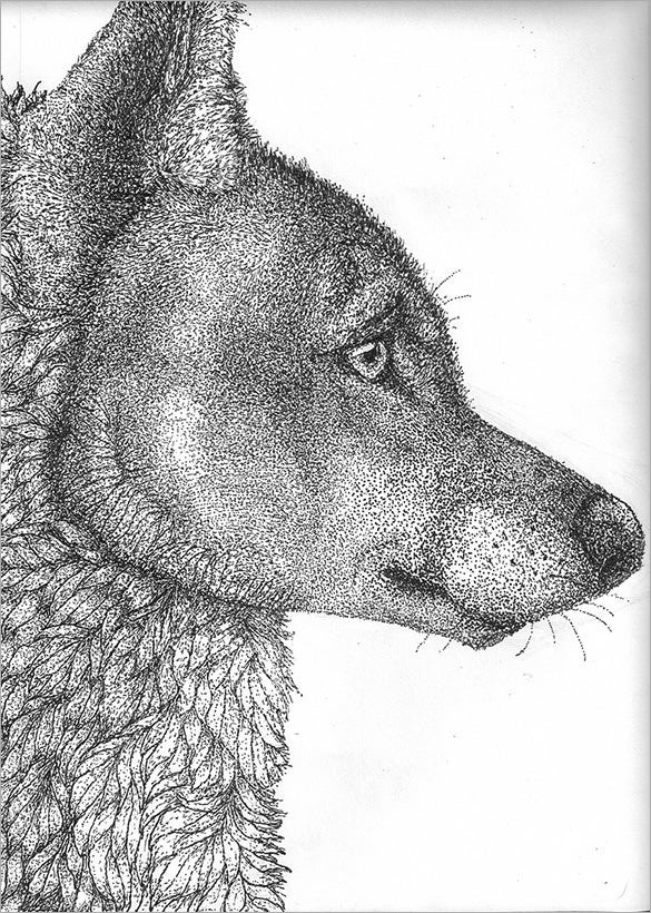 pointillism art of wolf