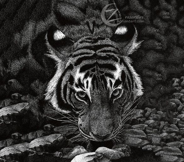 ferocious tiger pointillism art